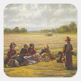 Harvesters resting in the Sun, Berkshire, 1865 Square Sticker