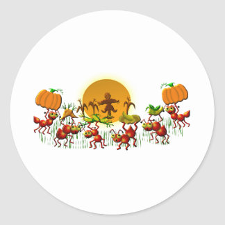 harvesting ants classic round sticker