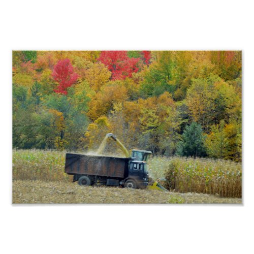 Harvesting Corn in Vermont Poster