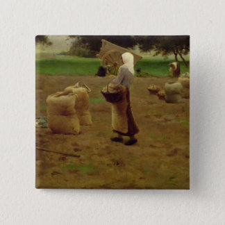 Harvesting Potatoes Pinback Button