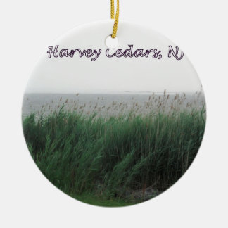 Harvey Cedars, NJ:  Bay with Green Grass/Reeds Ceramic Ornament