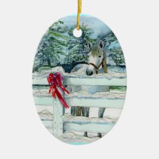 Harvey Double-Sided Oval Ceramic Christmas Ornament
