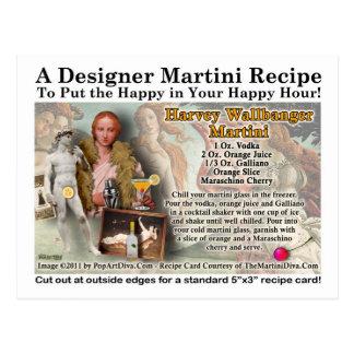 Harvey Wallbanger Martini Recipe Postcard