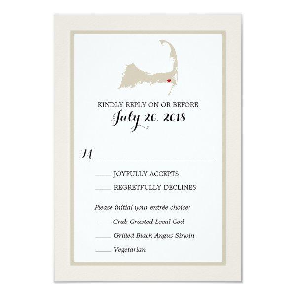 Harwich Cape Cod Map | Wedding RSVP menu Card