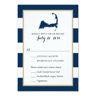 Harwich Cape Cod with heart | Wedding RSVP menu Card