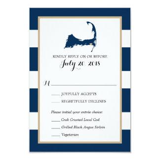 Harwich Cape Cod with heart   Wedding RSVP menu Card