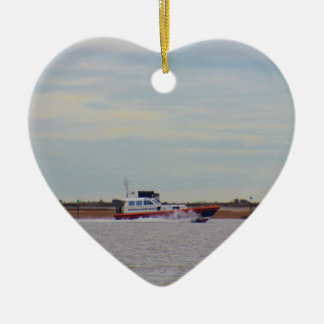 Harwich Haven Pilot Boat Double-Sided Heart Ceramic Christmas Ornament