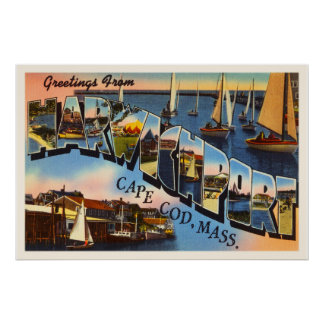 Harwichport Cape Cod Massachusetts MA Old Travel Poster