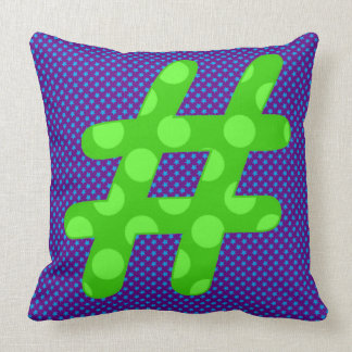 Hash Character '#' in Brightly Colorful Design Throw Pillow
