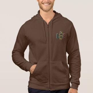 Hash tag life rasta colours brown zipped hoodie