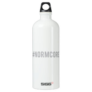 hash tag normcore, word art, text design water bottle