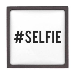 Hash tag selfie, word art, text design for t-shirt premium trinket boxes
