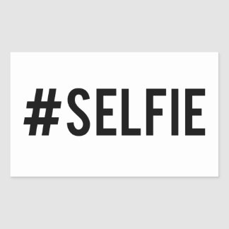 Hash tag selfie, word art, text design for t-shirt rectangular sticker