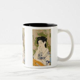 Hashiguchi Goyo and Woman at a hot spring hotel Two-Tone Coffee Mug