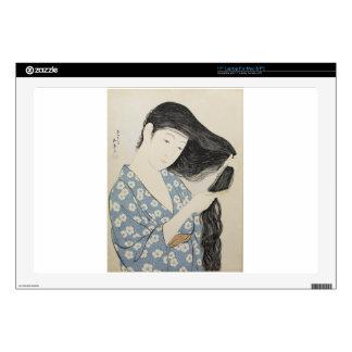"""Hashiguchi Goyo - Woman in Blue Combing Her Hair 17"""" Laptop Decal"""