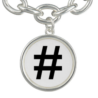 #HASHTAG - Black Hash Tag Symbol Charm Bracelet