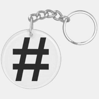 #HASHTAG - Black Hash Tag Symbol Double-Sided Round Acrylic Keychain