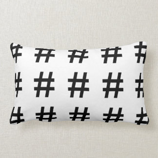 #HASHTAG - Black Hash Tag Symbol Lumbar Pillow