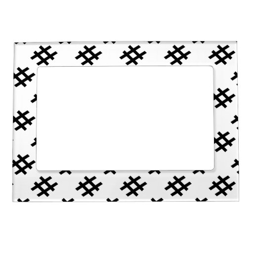 #HASHTAG - Black Hash Tag Symbol Picture Frame Magnets