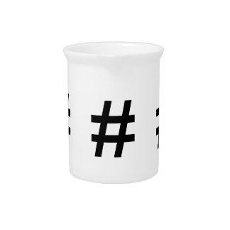 #HASHTAG - Black Hash Tag Symbol Beverage Pitcher