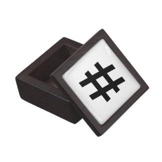 #HASHTAG - Black Hash Tag Symbol Premium Keepsake Box