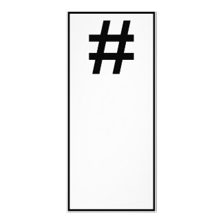 HASHTAG - Black Hash Tag Symbol Personalized Rack Card