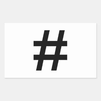 HASHTAG - Black Hash Tag Symbol Rectangle Sticker