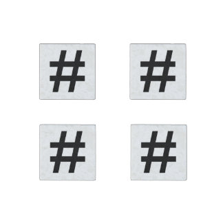 #HASHTAG - Black Hash Tag Symbol Stone Magnet