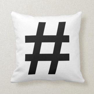 #HASHTAG - Black Hash Tag Symbol Throw Pillow