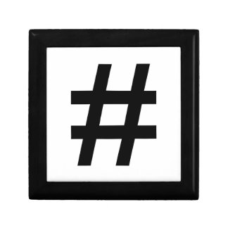 #HASHTAG - Black Hash Tag Symbol Trinket Box