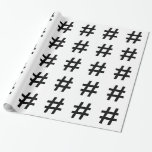 #HASHTAG - Black Hash Tag Symbol Wrapping Paper