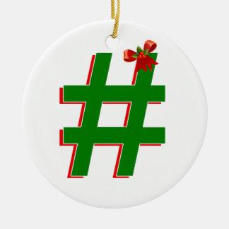 #HASHTAG de los #Christmas - símbolo de la Adorno Navideño Redondo De Cerámica