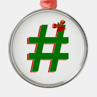 #HASHTAG de los #Christmas - símbolo de la Adorno Redondo Plateado