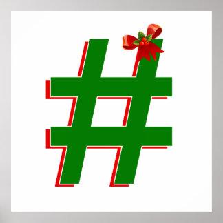 #HASHTAG de los #Christmas - símbolo de la Póster