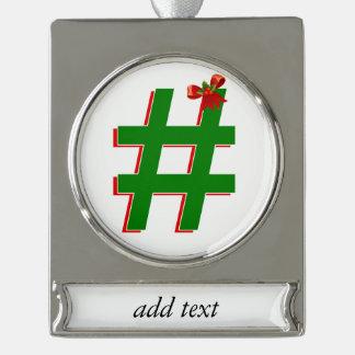 #HASHTAG de los #Christmas - símbolo de la Rótulos De Adorno Plateado