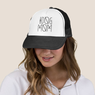 Hashtag Dog Mom Black & White Trendy Trucker Hat