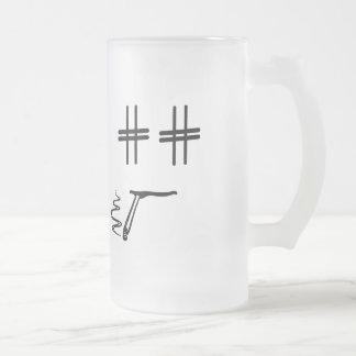 # Hashtag Dude Cartoon Face Funny Social Media Frosted Glass Beer Mug