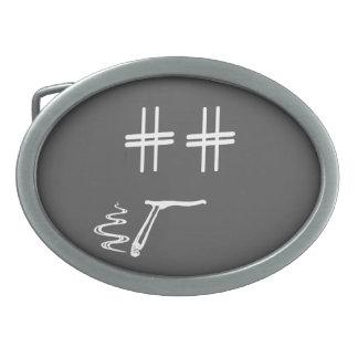 Hashtag Dude Cartoon Face with Hashtag Eyes Funny Oval Belt Buckle