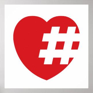 hashtag en un corazón póster