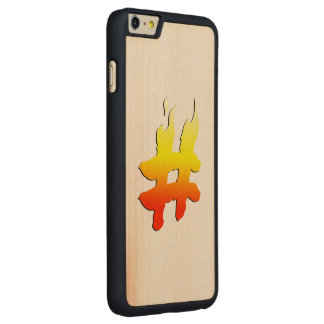 #HASHTAG - Hash Tag Symbol on Fire Carved® Maple iPhone 6 Plus Slim Case