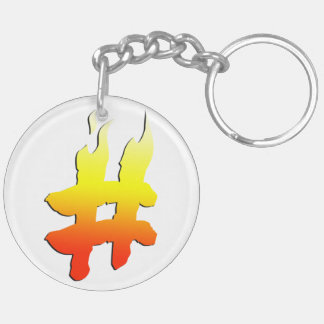 #HASHTAG - Hash Tag Symbol on Fire Double-Sided Round Acrylic Keychain