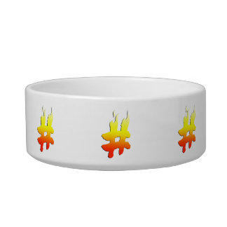 #HASHTAG - Hash Tag Symbol on Fire Cat Bowls