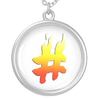 #HASHTAG - Hash Tag Symbol on Fire Round Pendant Necklace