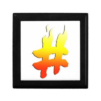 #HASHTAG - Hash Tag Symbol on Fire Trinket Box