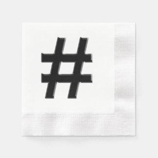 #HASHTAG - Hash Tag Symbol Coined Cocktail Napkin