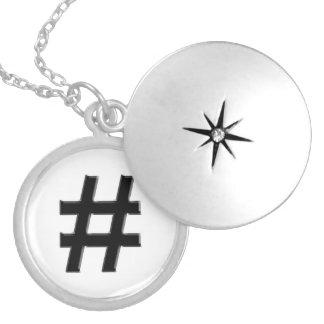 #HASHTAG - Hash Tag Symbol Round Locket Necklace