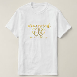 Hashtag Married Personalized Hearts & Date T-Shirt