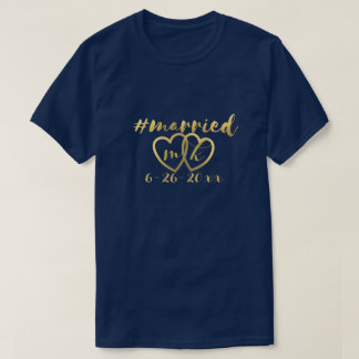 Hashtag Married Personalized Wedding Date T-Shirt