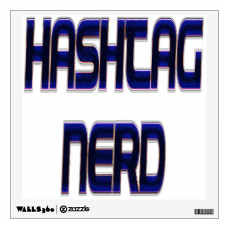 Hashtag Nerd Blue Wall Decal