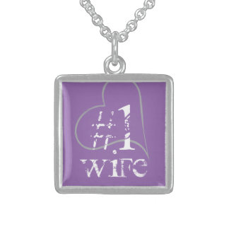Hashtag No 1 Wife, Purple Matching Square Pendant Necklace